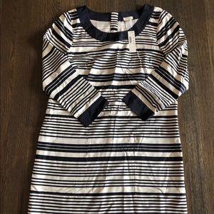 J.crew navy striped silk dress size 6 NWT
